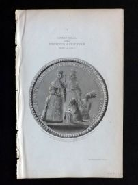 Morgan 1851 Antique Print. Great Seal of the Province of New York 1691-1705